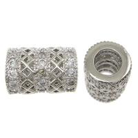 Messing hohle Perlen, Zylinder, platiniert, Micro pave Zirkonia, frei von Nickel, Blei & Kadmium, 11x9mm, Bohrung:ca. 4mm, 10PCs/Menge, verkauft von Menge