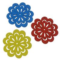 Holz Anhänger, Blume, gemischte Farben, 47.50x50x2.50mm, Bohrung:ca. 1mm, 100PCs/Tasche, verkauft von Tasche