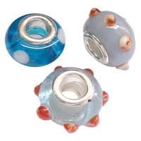 Lampwork European Perlen, platiniert, Messing-Dual-Core ohne troll & gemischt & uneben, frei von Nickel, Blei & Kadmium, 8x15mm, Bohrung:ca. 5mm, 100PCs/Tasche, verkauft von Tasche