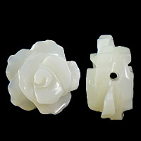 Natürliche weiße Muschelperlen, Blume, Weitere Größen für Wahl, Bohrung:ca. 1mm, 50PCs/Menge, verkauft von Menge