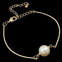 Messing Armband, mit Perlen, mit Verlängerungskettchen von 5cm, rund, plattiert, keine, frei von Nickel, Blei & Kadmium, 9-10mm, verkauft per ca. 7.5 ZollInch Strang