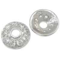 925 Sterling Silber Perlenkappe, flache Runde, mit kubischem Zirkonia, 10.5x3.5mm, Bohrung:ca. 3mm, 5PCs/Tasche, verkauft von Tasche
