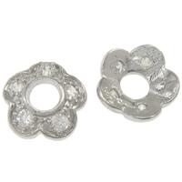 925 Sterling Silber Perlenkappe, Blume, mit kubischem Zirkonia, 8x3.5mm, Bohrung:ca. 3mm, 5PCs/Tasche, verkauft von Tasche
