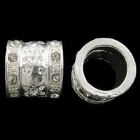 Strass Zinklegierung Perlen, Rohr, silberfarben plattiert, mit Strass & großes Loch, frei von Nickel, Blei & Kadmium, 12x13mm, Bohrung:ca. 9mm, 10PCs/Tasche, verkauft von Tasche