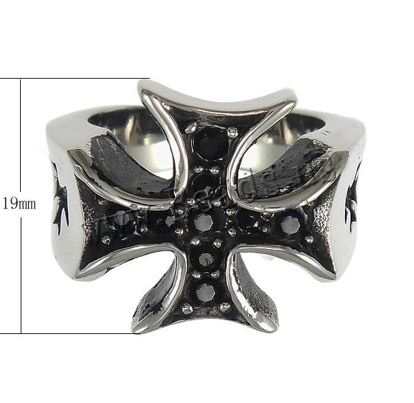 rhinestone edelstahl finger ring edelstahl kreuz mit strass schw rzen 19mm gr e 7 13. Black Bedroom Furniture Sets. Home Design Ideas