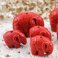Zinnober Anhänger, Cinnabaris, Elephant, geschnitzed & verschiedene Größen vorhanden, Bohrung:ca. 1-2mm, verkauft von Menge
