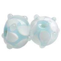 Holprige Lampwork Perlen, Rondell, handgemacht, uneben, hellblau, 12x7mm, Bohrung:ca. 2mm, 100PCs/Tasche, verkauft von Tasche