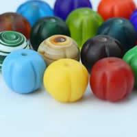 Satinierte Lampwork Perlen, Blume, handgemacht, gemischte Farben, 12x13mm, Bohrung:ca. 3mm, 30PCs/Tasche, verkauft von Tasche