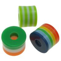 Gestreifte Harz Perlen, Zylinder, Streifen, gemischte Farben, 11x9mm, Bohrung:ca. 3.5mm, 1000PCs/Tasche, verkauft von Tasche