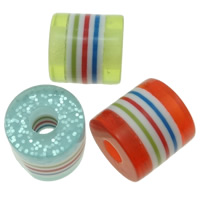 Gestreifte Harz Perlen, mit Kunststoff Pailletten, Zylinder, Streifen, gemischte Farben, 13x13mm, Bohrung:ca. 4mm, 500PCs/Tasche, verkauft von Tasche