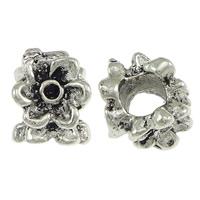 Messing Perlen Einstellung, Blume, antik silberfarben plattiert, ohne troll, frei von Nickel, Blei & Kadmium, 9x12mm, Bohrung:ca. 5mm, Innendurchmesser:ca. 2mm, 200PCs/Menge, verkauft von Menge