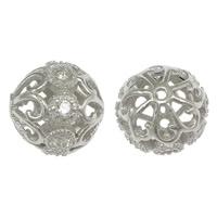Befestiger Zirkonia Sterlingsilber Perlen, 925 Sterling Silber, rund, Micro pave Zirkonia & hohl, 10mm, Bohrung:ca. 1mm, 10PCs/Menge, verkauft von Menge