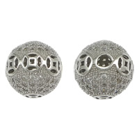 Befestiger Zirkonia Sterlingsilber Perlen, 925 Sterling Silber, rund, Micro pave Zirkonia & hohl, 11mm, Bohrung:ca. 2mm, 3PCs/Menge, verkauft von Menge