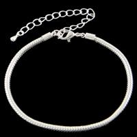 Messing European Armband, mit Verlängerungskettchen von 8cm, silberfarben plattiert, Schlangekette, frei von Nickel, Blei & Kadmium, 3mm, Länge:ca. 7 ZollInch, 10SträngeStrang/Tasche, verkauft von Tasche
