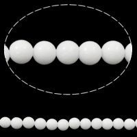Weiße Porzellan Perlen, rund, 6mm, Bohrung:ca. 1mm, ca. 62PCs/Strang, verkauft per ca. 15 ZollInch Strang