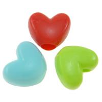 Volltonfarbe Acryl Perlen, Herz, gemischte Farben, 12x10x7mm, Bohrung:ca. 4mm, ca. 1100PCs/Tasche, verkauft von Tasche