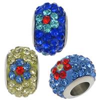 Strass Perlen European Stil, Edelstahl, mit Ton, Rondell, mit 70 Stück Strass & ohne troll, keine, 7.50x12mm, Bohrung:ca. 5mm, 50PCs/Menge, verkauft von Menge