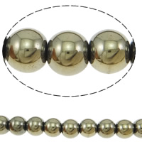 Goldene Pyrit Perlen, rund, verschiedene Größen vorhanden, originale Farbe, Bohrung:ca. 1-1.5mm, Länge:ca. 15.5 ZollInch, verkauft von Menge