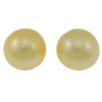 Kein Loch Süßwasser Zuchtperlen, Natürliche kultivierte Süßwasserperlen, rund, natürlich, Goldfarbe, Klasse AA, 11-12mm, verkauft von PC