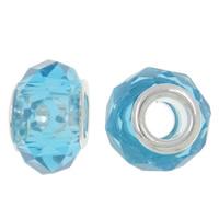 European Kristall Perlen, Rondell, Sterling Silber-Dual-Core ohne troll, Aquamarin, 14x9mm, Bohrung:ca. 5mm, 20PCs/Tasche, verkauft von Tasche