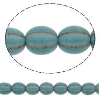 Türkis Perlen, Synthetische Türkis, oval, grün, 12mm, Bohrung:ca. 1mm, ca. 32PCs/Strang, verkauft per ca. 15 ZollInch Strang