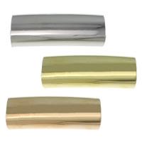 Messing gebogene Rohr Perlen, Rechteck, plattiert, keine, frei von Nickel, Blei & Kadmium, 25x9x5mm, Bohrung:ca. 8x5mm, 500PCs/Menge, verkauft von Menge