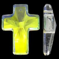 KRISTALLanhänger, Kristall, Kreuz, bunte Farbe plattiert, facettierte, 30x40x11mm, Bohrung:ca. 2mm, 5PCs/Tasche, verkauft von Tasche