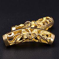 Messing Stiftöse Perlen, Rohr, buddhistischer Schmuck & hohl, originale Farbe, frei von Nickel, Blei & Kadmium, 25x7.50mm, Bohrung:ca. 4.3mm,2mm, 50PCs/Menge, verkauft von Menge