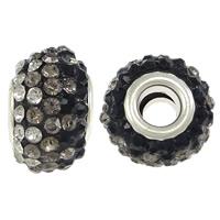 Harz European Perlen, Rondell, Platinfarbe platiniert, Messing-Dual-Core ohne troll & mit Strass, 10x15mm, Bohrung:ca. 5mm, 50PCs/Menge, verkauft von Menge