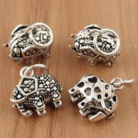 Bali Sterling Silber Anhänger, Thailand, Elephant, 11x15.80x6.80mm, Bohrung:ca. 4mm, 5PCs/Tasche, verkauft von Tasche