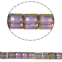 Klasse AA Kristallperlen, Kristall, Quadrat, bunte Farbe plattiert, verschiedene Größen vorhanden & facettierte & AA grade crystal, Purple Velvet AB2X, Bohrung:ca. 1mm, verkauft per ca. 15.5 ZollInch Strang