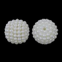 ABS-Kunststoff-Perlen, ABS Kunststoff, rund, Demontage und Montage & Nachahmung Perle, weiß, 18mm, Bohrung:ca. 2mm, ca. 190PCs/Tasche, verkauft von Tasche