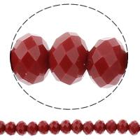Rondell Kristallperlen, Kristall, AA grade crystal, Rubin, 6x8mm, Bohrung:ca. 1.5mm, Länge:ca. 17 ZollInch, 10SträngeStrang/Tasche, ca. 72PCs/Strang, verkauft von Tasche