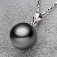Tahiti Perlen Anhänger, mit Messing, rund, natürlich, schwarz, 10-11mm, Bohrung:ca. 2-5mm, verkauft von PC