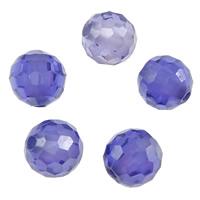 kubischer Zirkonia Perle, rund, facettierte, karibikblau, 6mm, Bohrung:ca. 1mm, 10PCs/Menge, verkauft von Menge