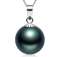 Tahiti Perlen Anhänger, mit Messing, rund, natürlich, verschiedene Größen vorhanden, schwarz, Bohrung:ca. 2-7mm, verkauft von PC
