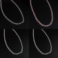 Messing Halskette, platiniert, mit kubischem Zirkonia, keine, frei von Nickel, Blei & Kadmium, 4mm, Länge:ca. 18 ZollInch, 2SträngeStrang/Menge, verkauft von Menge