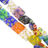 Millefiori Glasperlen, Glas Millefiori, Quadrat, handgemacht, verschiedene Größen vorhanden, gemischte Farben, Bohrung:ca. 1mm, Länge:ca. 14.5 ZollInch, verkauft von Tasche