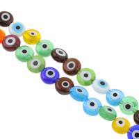 Böser Blick Lampwork Perlen, flache Runde, handgemacht, böser Blick- Muster & verschiedene Größen vorhanden, gemischte Farben, Bohrung:ca. 1mm, Länge:ca. 14 ZollInch, verkauft von Tasche
