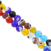 Böser Blick Lampwork Perlen, rund, handgemacht, böser Blick- Muster & verschiedene Größen vorhanden, gemischte Farben, Bohrung:ca. 1mm, Länge:ca. 14 ZollInch, verkauft von Tasche