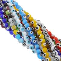 Böser Blick Lampwork Perlen, rund, handgemacht, böser Blick- Muster & verschiedene Größen vorhanden, gemischte Farben, Bohrung:ca. 1mm, Länge:ca. 14.5 ZollInch, verkauft von Tasche