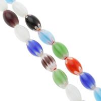 Millefiori Glasperlen, Glas Millefiori, oval, handgemacht, verschiedene Größen vorhanden, gemischte Farben, Bohrung:ca. 1mm, Länge:ca. 14.5 ZollInch, verkauft von Tasche
