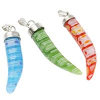 Millefiori Glas Anhänger Schmuck, Glas Millefiori, mit Eisen, Chili, handgemacht, gemischte Farben, 7x44x7mm, Bohrung:ca. 1x5mm, 10PCs/Tasche, verkauft von Tasche