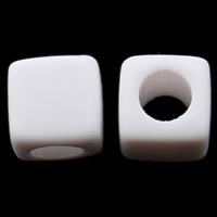 Volltonfarbe Acryl Perlen, Würfel, weiß, 7x7mm, Bohrung:ca. 3.5mm, ca. 1900PCs/Tasche, verkauft von Tasche