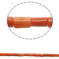 Natürliche Korallen Perlen, Rohr, rote Orange, 9x16mm-10x19mm, Bohrung:ca. 1mm, ca. 30PCs/Strang, verkauft per ca. 15.7 ZollInch Strang