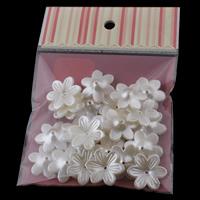 ABS Kunststoff Perlkappen, mit OPP, Blume, Nachahmung Perle, weiß, 26x6mm, 100x170mm, Bohrung:ca. 1mm, 30PCs/Tasche, verkauft von Tasche