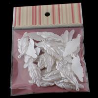 ABS-Kunststoff-Perlen Anhänger, Blatt, weiß, 16x44x3mm, 100x170mm, Bohrung:ca. 1mm, 30PCs/Tasche, verkauft von Tasche