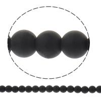 Matt Acryl Perlen, rund, satiniert & Volltonfarbe, schwarz, 8mm, Bohrung:ca. 1.5mm, ca. 51PCs/Strang, verkauft per ca. 15.3 ZollInch Strang
