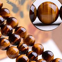 Tigerauge Perle, rund, verschiedene Größen vorhanden, gelb, Grad AAA, verkauft von Menge