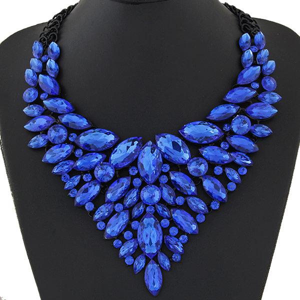 Mode Statement Halskette, Zinklegierung, mit Harz, Spritzlackierung, Imitation Kristall & facettierte, royalblau, frei von Blei & Kadmium, 420mm, verkauft per ca. 16.54 ZollInch Strang